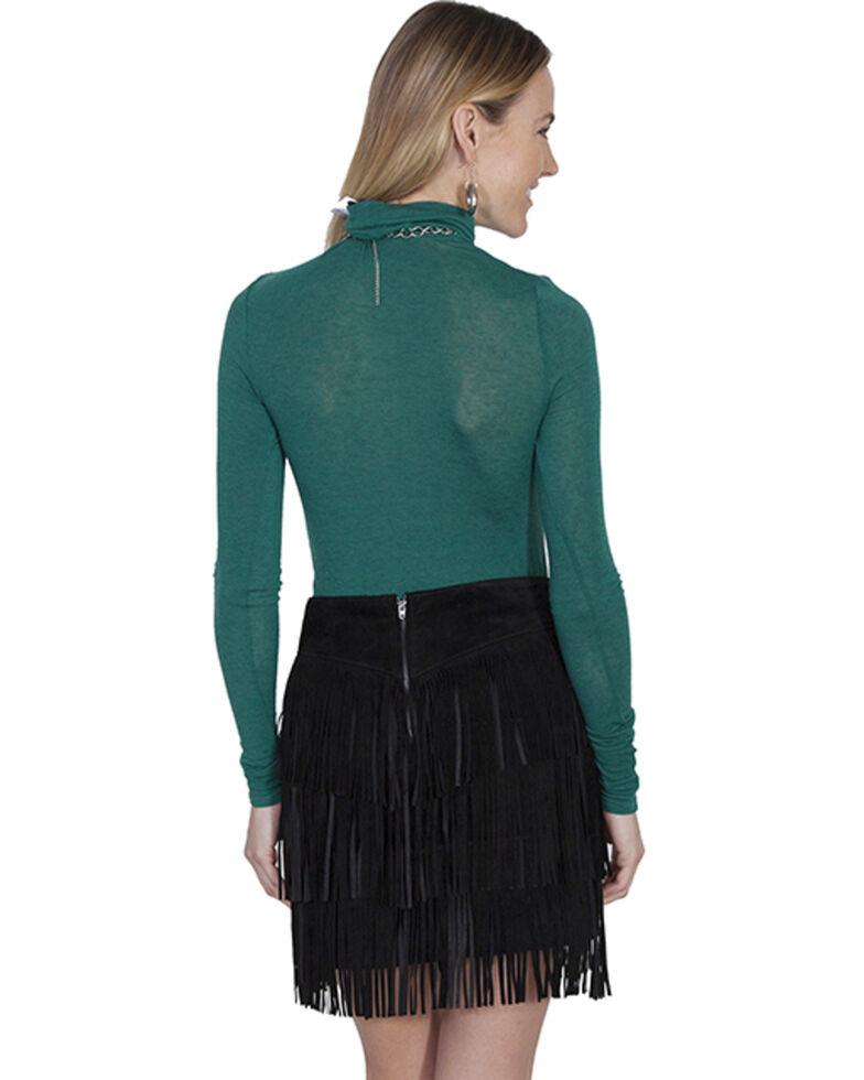 Scully Women's Suede Fringe Skirt, Black, hi-res
