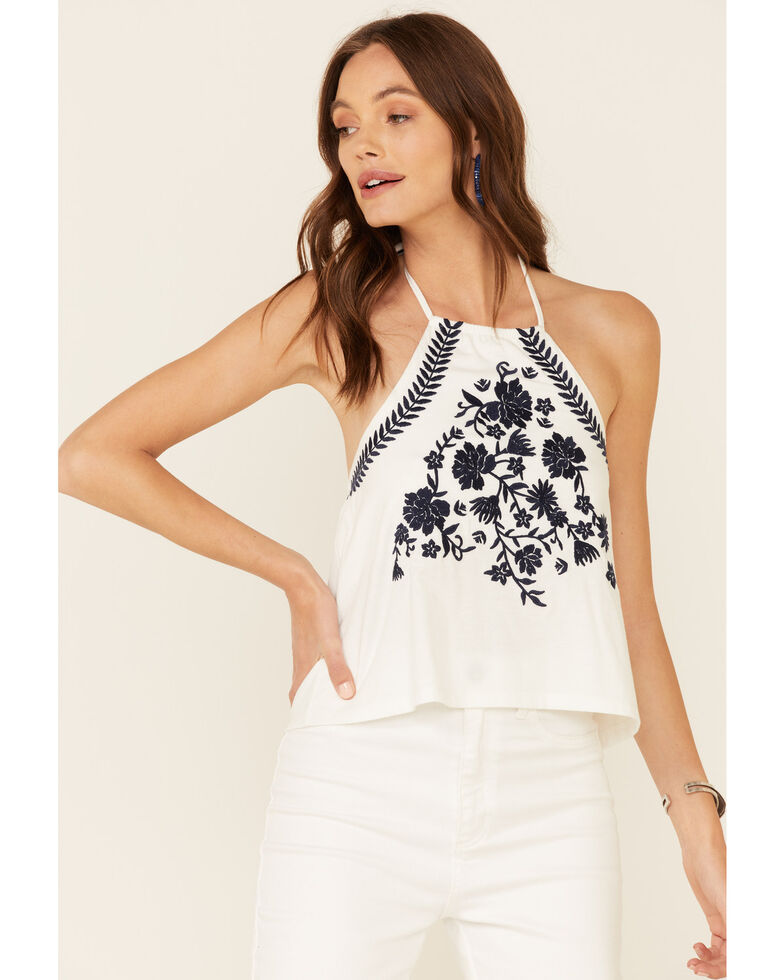 Rock & Roll Denim Women's Floral Embroidered Halter Top , White, hi-res