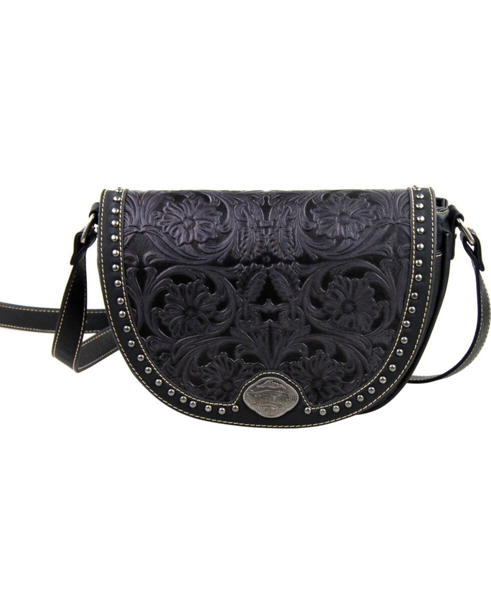 Montana West Trinity Ranch Black Tooled Design Messenger Bag, Black, hi-res