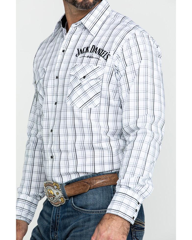 Jack Daniel's Men's Windowpane Plaid Long Sleeve Western Shirt , White, hi-res