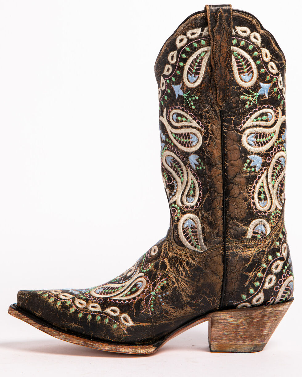 Dan Post Women's Paisley Embroidered Western Boots - Snip Toe, Brown, hi-res