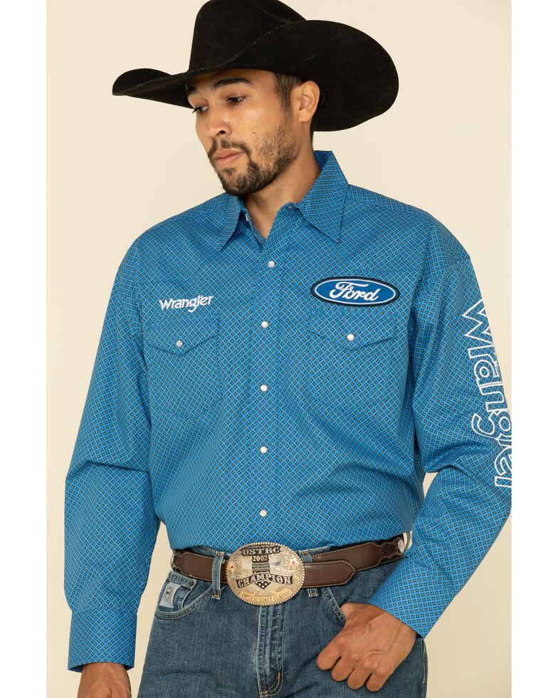 Wrangler Men's Blue Geo Print Ford Logo Long Sleeve Western Shirt , Blue, hi-res