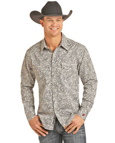 Rock & Roll Cowboy Men's FR Printed Paisley Twill Long Sleeve Work Shirt - Big , Silver, hi-res