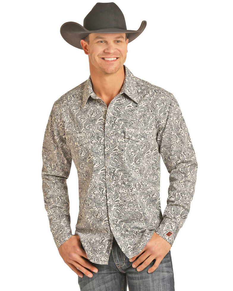 Rock & Roll Denim Men's FR Printed Paisley Twill Long Sleeve Work Shirt - Big , Silver, hi-res