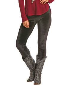 Rock & Roll Cowgirl Women's Velvet Leggings, Black, hi-res