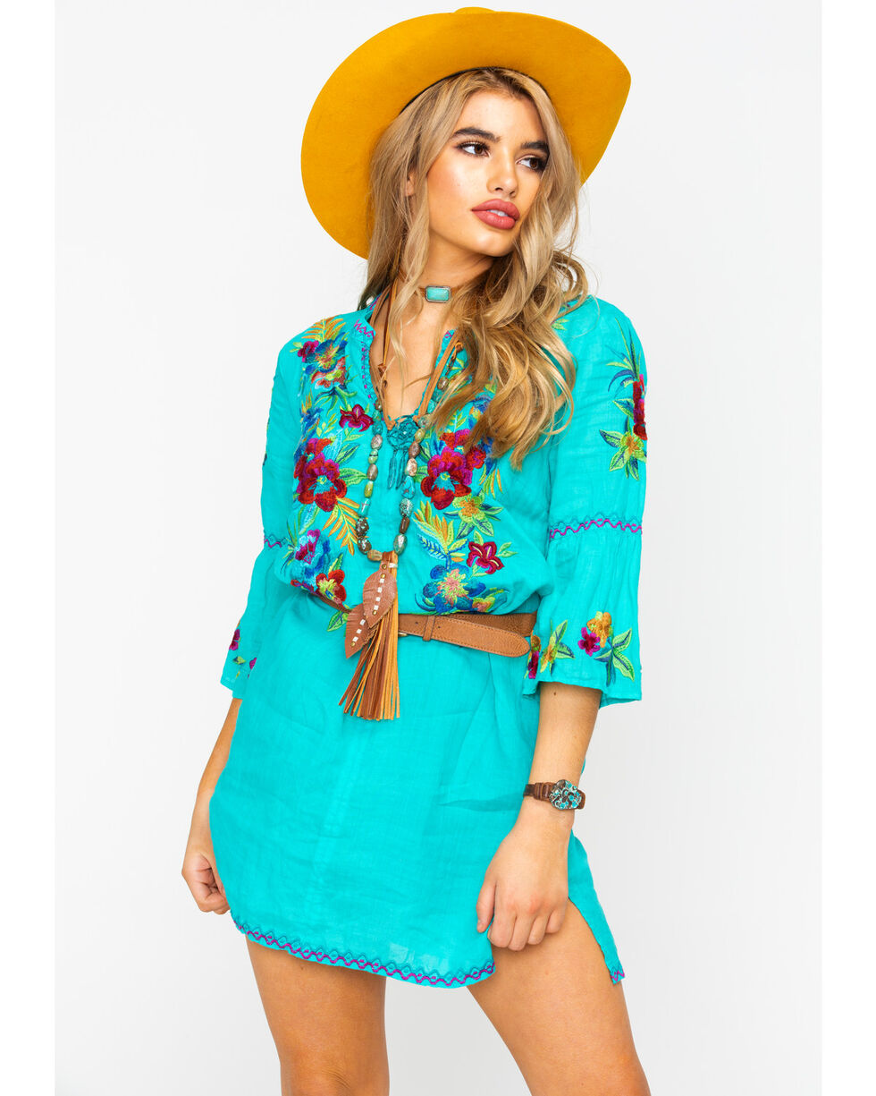 Johnny Was Women's Nandi Tunic Dress , Turquoise, hi-res