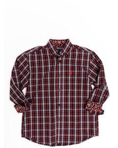 Panhandle Select Boys' Orange Poplin Plaid Long Sleeve Western Shirt , Orange, hi-res