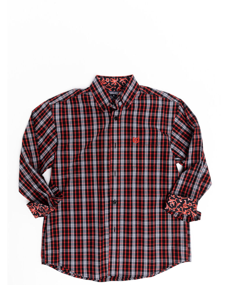 Panhandle Select Boys' Orange Poplin Plaid Long Sleeve Western Shirt , Orange, hi-res