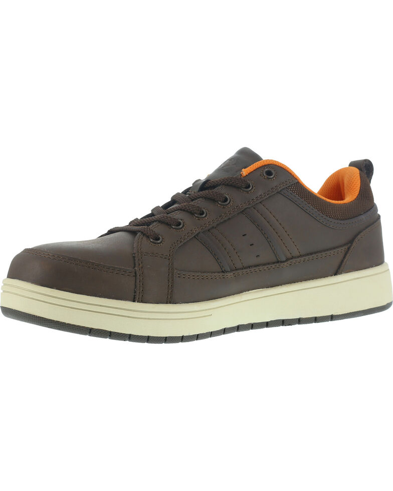 Iron Age Men's Board Rage Skate Style Oxford Shoes - Steel Toe , Brown, hi-res
