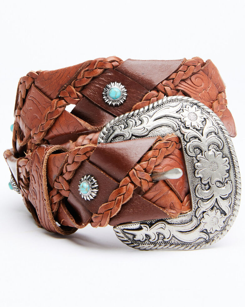 Shyanne Women's Braided Mini Turquoise Concho Belt, Brown, hi-res