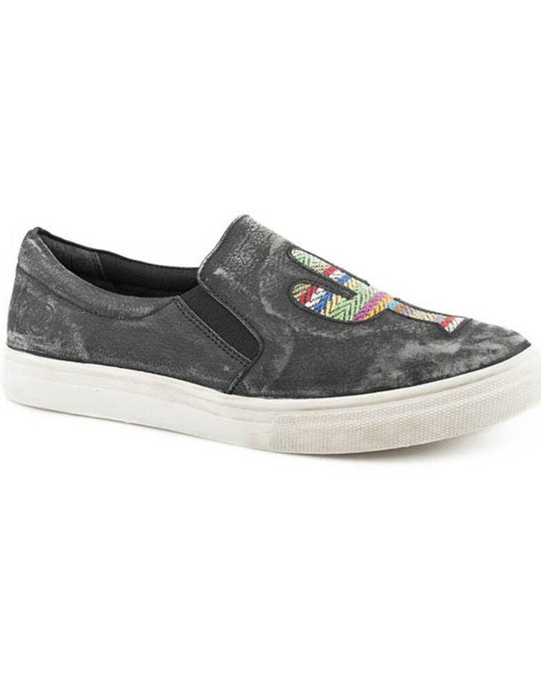 Roper Women's Rub Off Black Sanded Slip-On Shoes, Black, hi-res