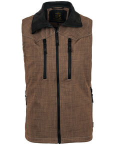 STS Ranchwear Men's Heather Brown Perf Vest , Black/brown, hi-res