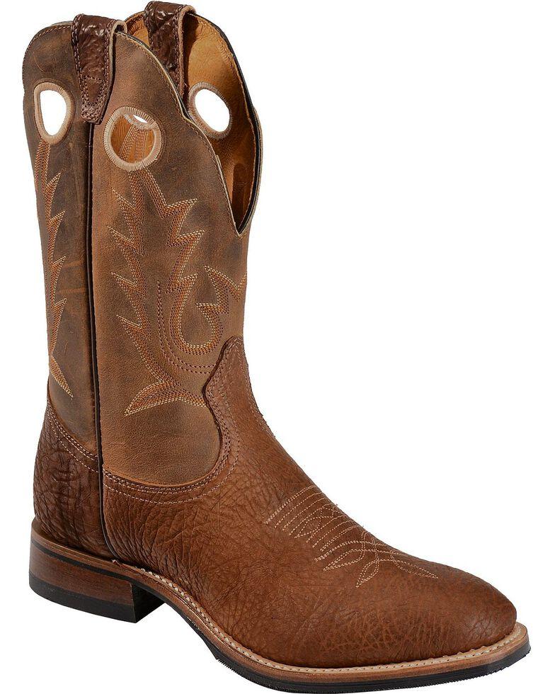 Boulet Men's Cognac Roper Western Boots - Round Toe, Cognac, hi-res