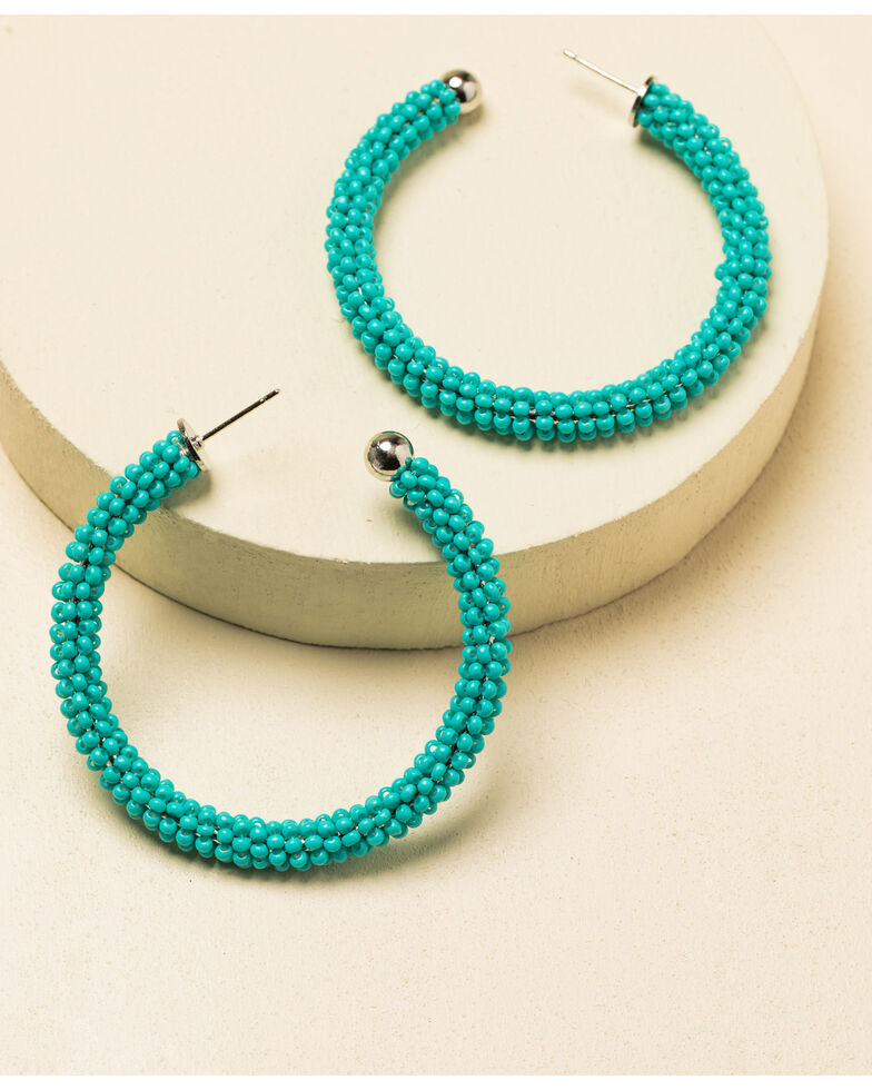 Idyllwind Women's Feeling Blue Beaded Hoop Earrings, Turquoise, hi-res