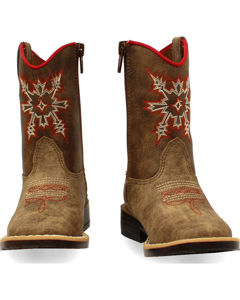 Double Barrel Toddler Boys' Clay Western Boots - Square Toe , Medium Brown, hi-res