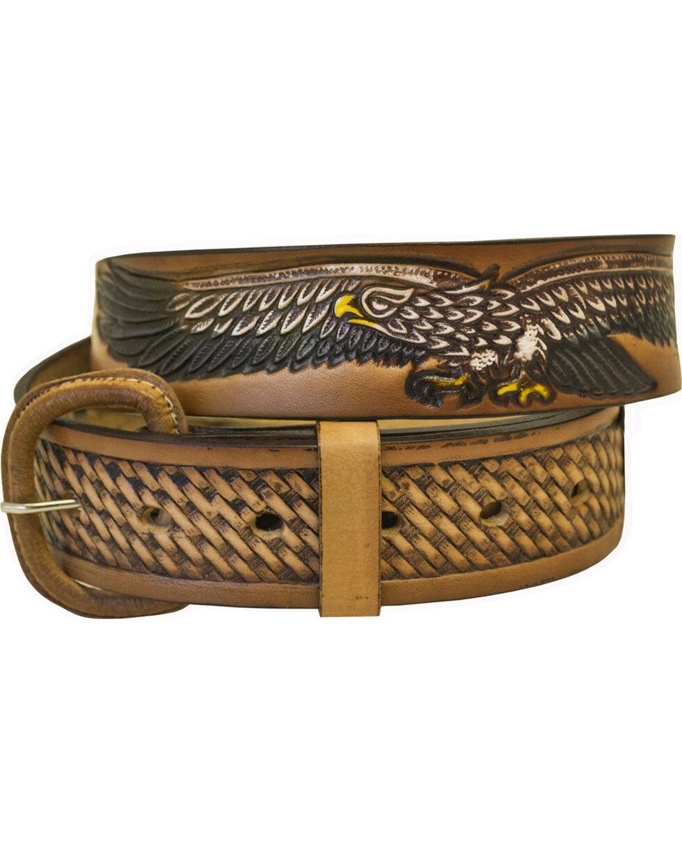 Western Express Men's Leather Eagle Belt , Brown, hi-res