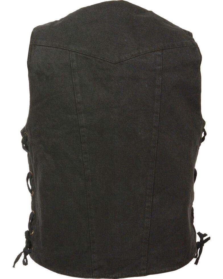 Milwaukee Leather Men's 10 Pocket Side Lace Denim Vest - 4X, , hi-res