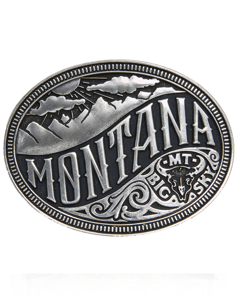 Cody James Men's Montana State Heritage Buckle, Silver, hi-res