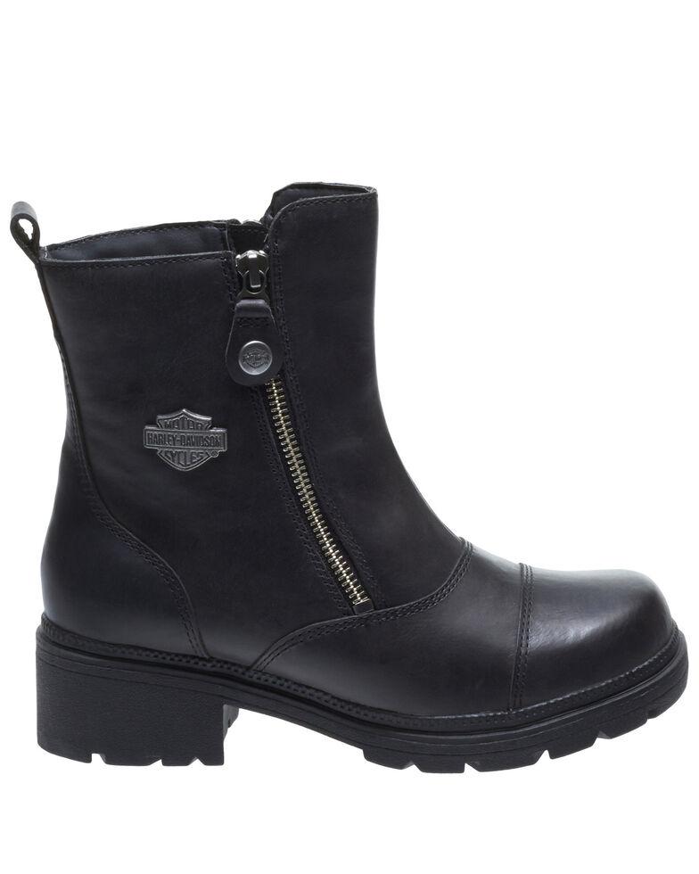 Harley Davidson Women's Amherst Moto Boots - Round Toe, Black, hi-res