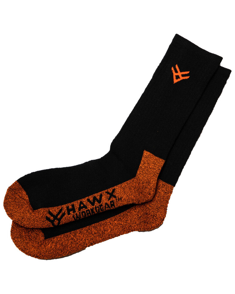 Hawx Men's 2 Pack Steel Toe All Season Socks, Black, hi-res