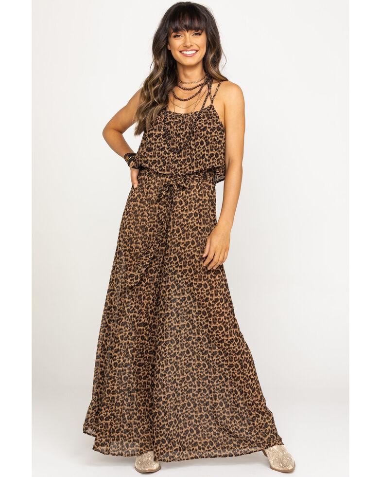 Flying Tomato Women's Leopard Flounce Top Wide Leg Jumpsuit, Leopard, hi-res