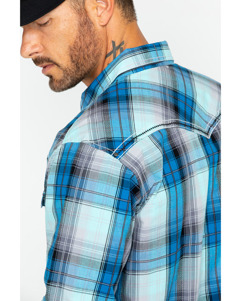 Rock 47 by Wrangler Men's Large Plaid Shirt , Blue, hi-res