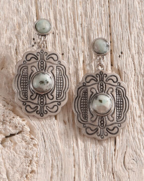 Shyanne Women's Jade Sea Concho Earrings, Silver, hi-res