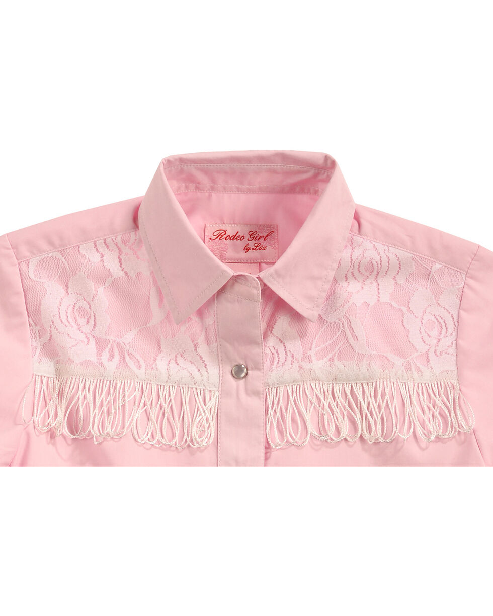 Red Ranch Girls' Pink Lace Yoke Fringe Shirt , Pink, hi-res