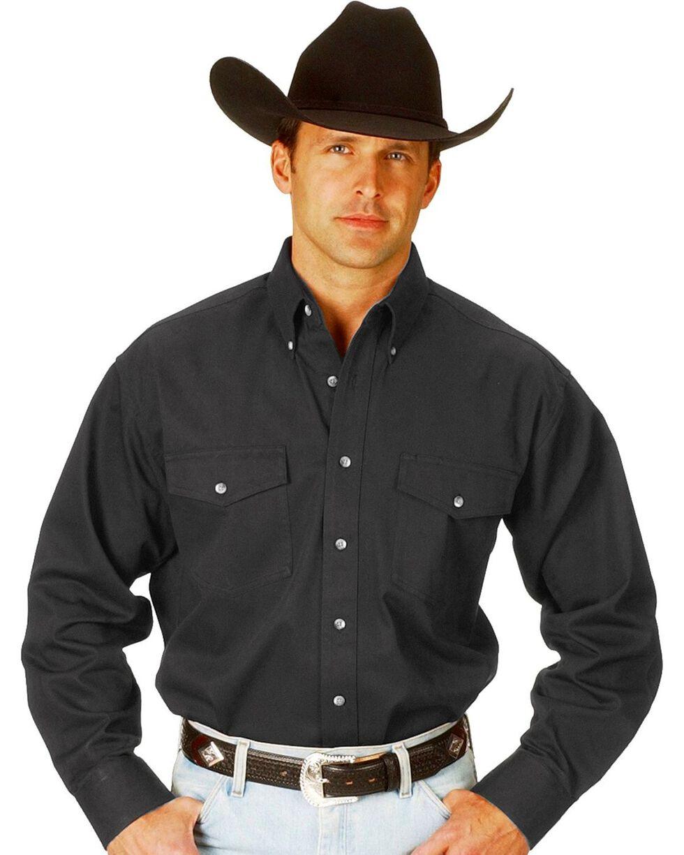 Wrangler Men's Painted Desert Solid Twill Shirt, Black, hi-res