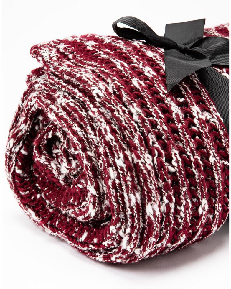 Boot Barn Ranch Burgundy Lurex Rib Knit Blanket, , hi-res