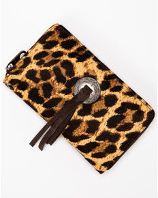 Shyanne Women's Leopard Wallet With Concho, Leopard, hi-res