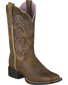 Ariat Women's Quickdraw Badlands Boot - Wide Square Toe, Brown, hi-res