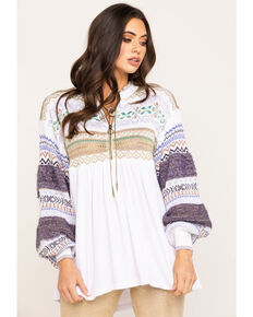 Free People Women's Cozy Cottage Sweater, White, hi-res