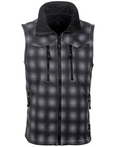 STS Ranchwear Boys' Youth Perf Plaid Softshell Vest, Black, hi-res