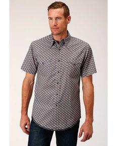 West Made Men's Neat Paisley Print Short Sleeve Western Shirt , Grey, hi-res