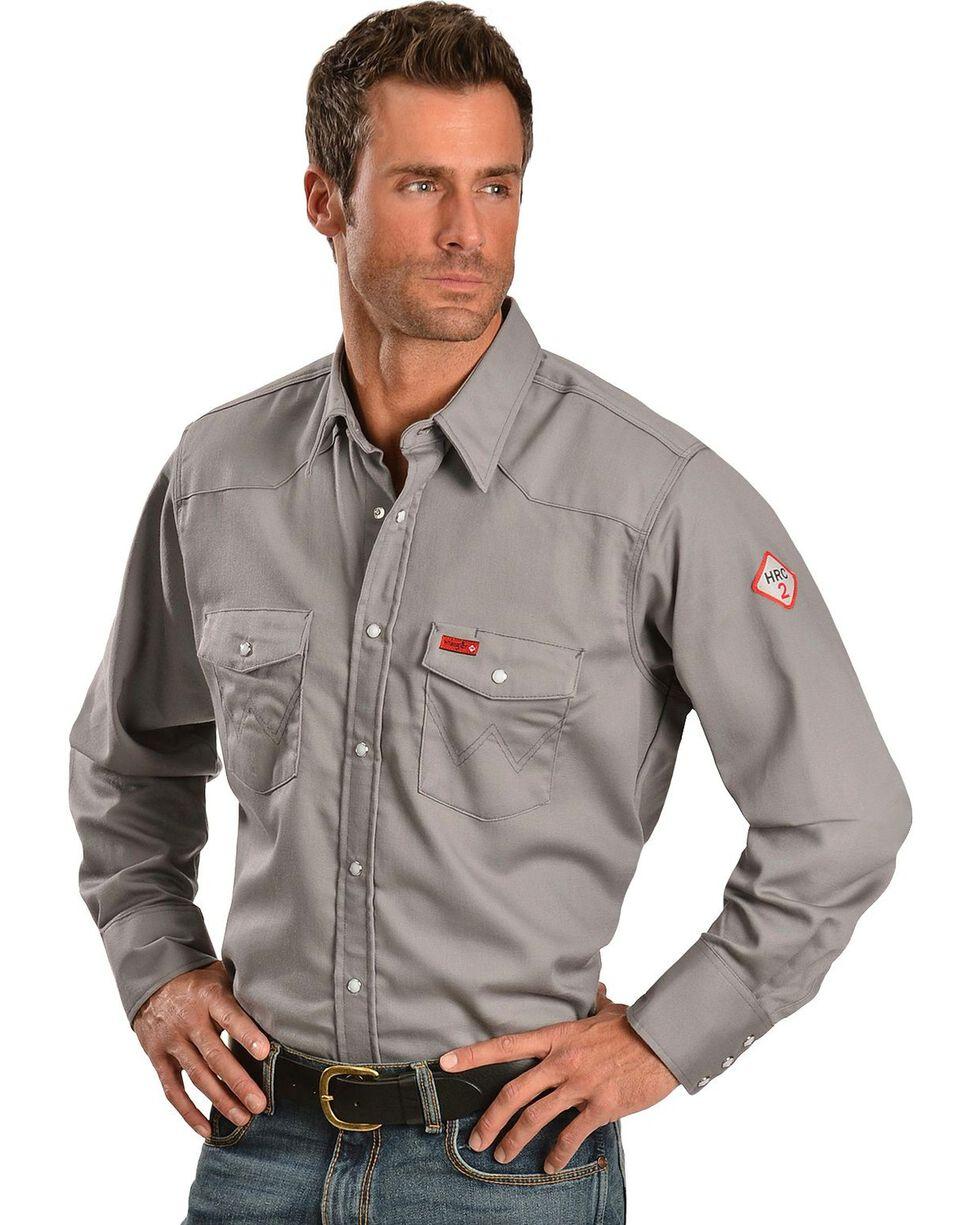 Wrangler Men's FR Lightweight Sateen Work Shirt, Charcoal Grey, hi-res