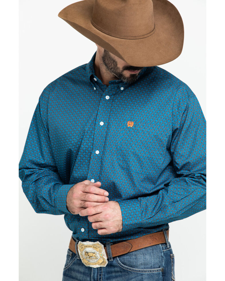 Cinch Men's Turquoise Geo Print Plain Weave Long Sleeve Western Shirt , Turquoise, hi-res