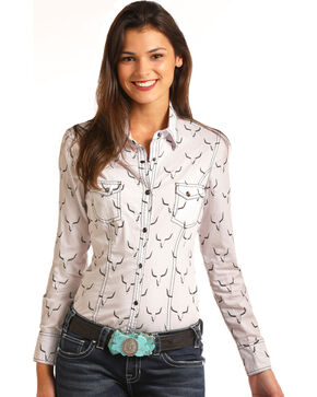 Rock & Roll Cowgirl Women's Steer Skull Long Sleeve Snap Shirt, White, hi-res