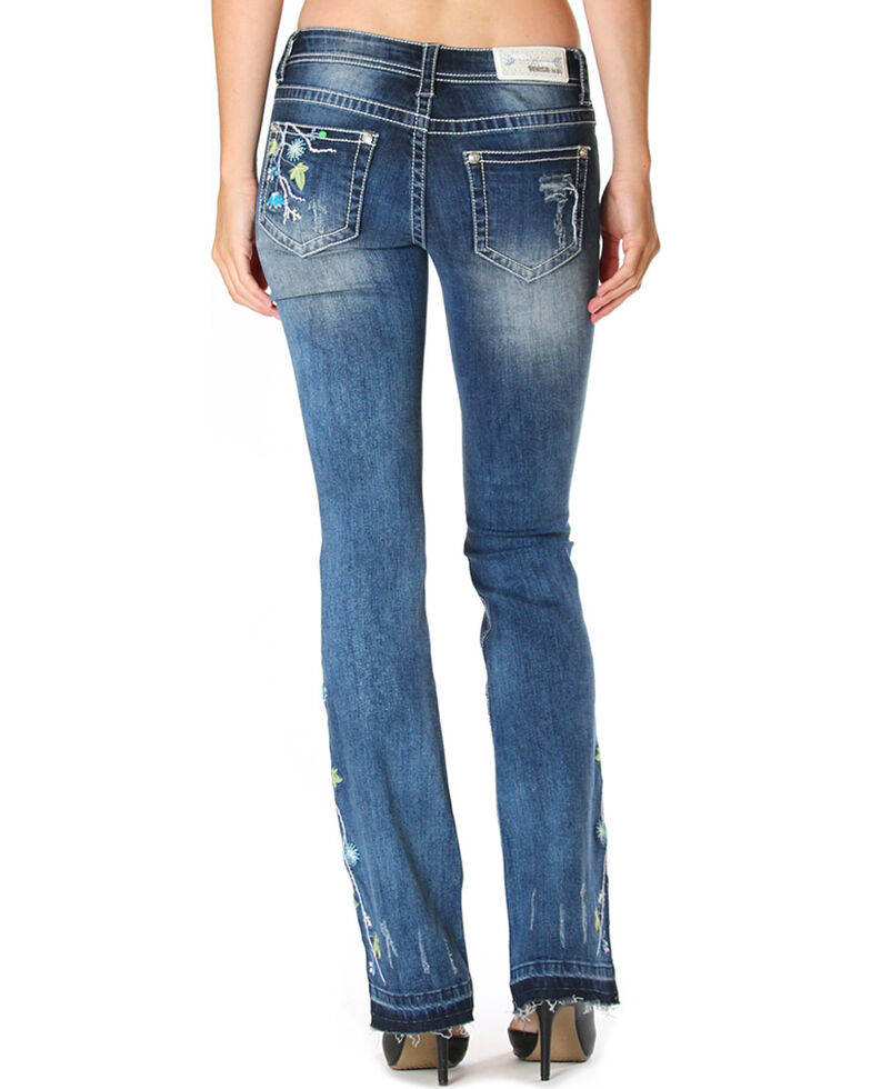 Grace in LA Women's Blue Floral Garden Boot Cut Jean with Released Hem for sale