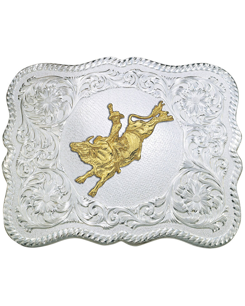 Montana Silversmiths Scalloped Bull Rider Belt Buckle, Multi, hi-res