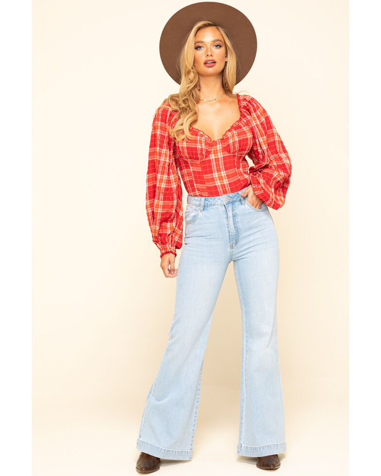 Free People Red Plaid Cherry Bomb Top , Red, hi-res