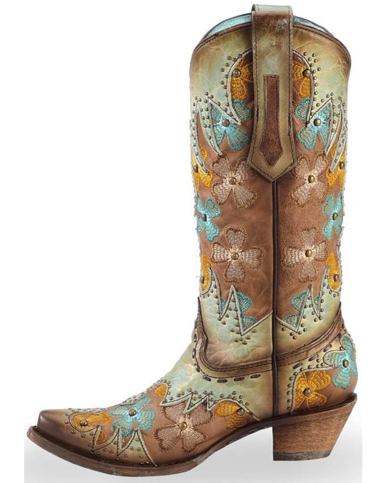 3f616031e42 Corral Women's Mint/Maple Inlay Studded Floral Embroidered Cowgirl Boots -  Snip Toe