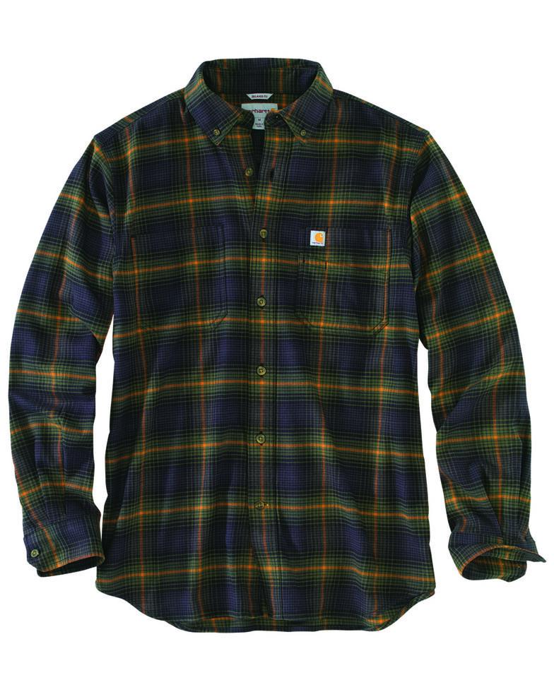 Carhartt Men's Rugged Flex Hamilton Plaid Long Sleeve Work Shirt - Big & Tall, Olive, hi-res