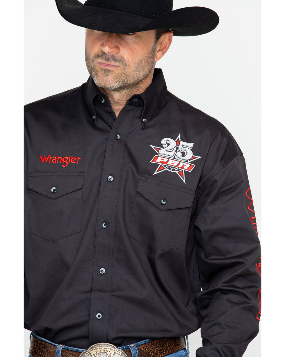 Wrangler Men's Long Sleeve PBR Logo Western Shirt , Black, hi-res