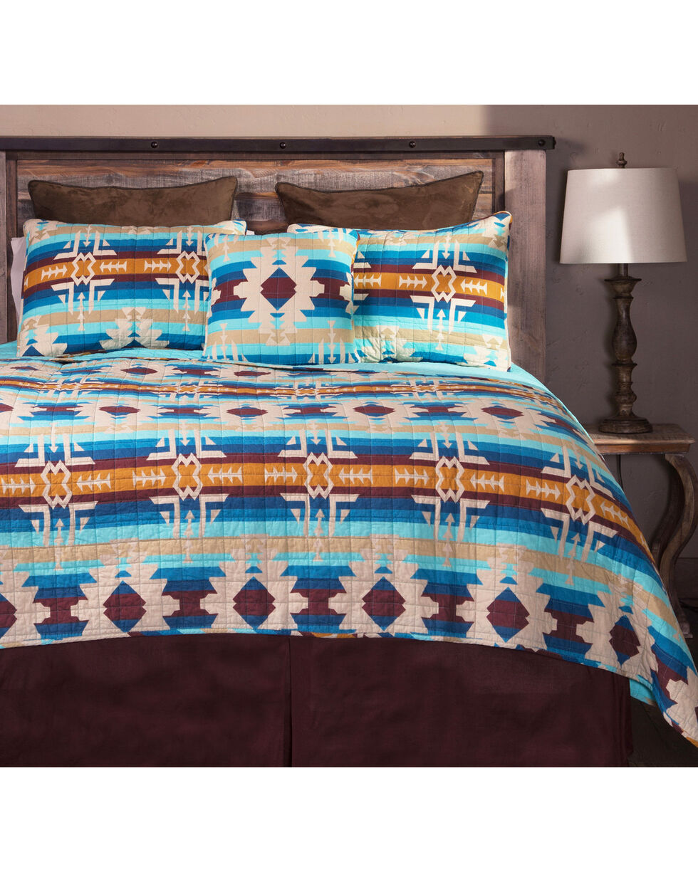 Carstens Southwest Harvest King Bedding - 5 Piece Set, Blue, hi-res
