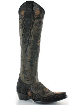 Old Gringo Women's Bonnie Mayra Boots - Snip Toe , Black, hi-res