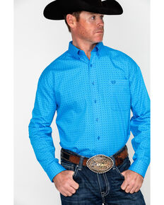 Panhandle Select Men's Blue Peached Poplin Geo Print Long Sleeve Western Shirt , Blue, hi-res