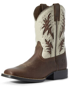 Ariat Youth Boys' Cognac VentTEK Western Boots - Square Toe, Brown, hi-res