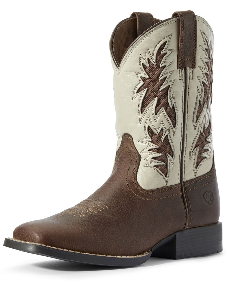 Ariat Boys' Cognac VentTEK Western Boots - Square Toe, Brown, hi-res