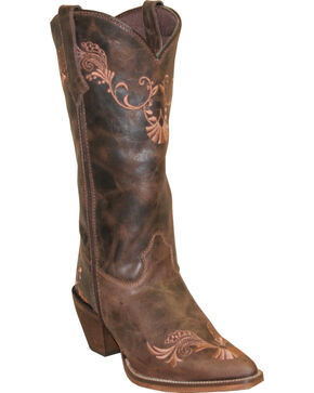 "Rawhide Women's 13"" Embroidered Western Boots, Brown, hi-res"